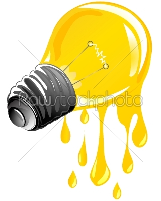 stock vector:  dripping energy light bulb-Raw Stock Photo ID: 24380