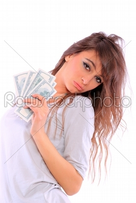 stock photo: a young woman with dollars in her hands-Raw Stock Photo ID: 12433