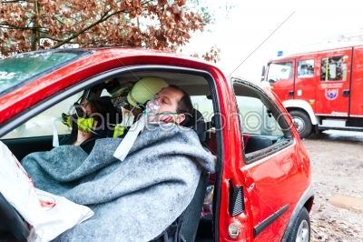 stock photo: accident  fire brigade rescues victim of a car-Raw Stock Photo ID: 46756