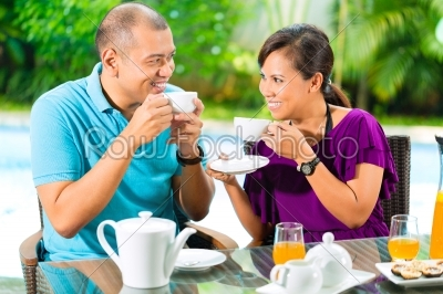 stock photo: asian couple having coffee on home porch-Raw Stock Photo ID: 43495