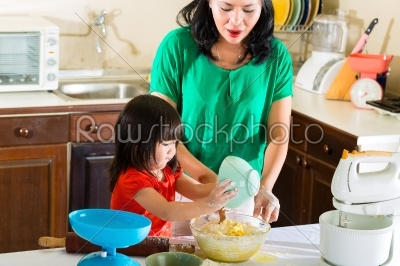 stock photo: asian mother and daughter at home in kitchen-Raw Stock Photo ID: 44217