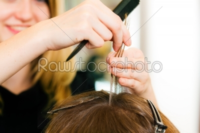 stock photo: at the hairdresser  woman gets new hair colour-Raw Stock Photo ID: 40028