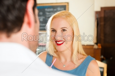 stock photo: attractive couple in cafe or coffeeshop-Raw Stock Photo ID: 44436