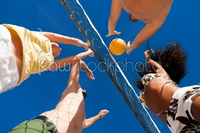 stock photo: beach volleyball  players on the net-Raw Stock Photo ID: 40481