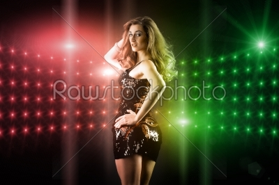 stock photo: beautiful girl dancing in club disco-Raw Stock Photo ID: 43838