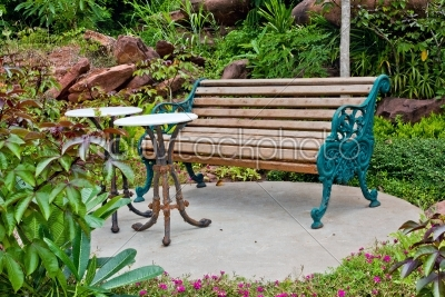 stock photo: bench with round table in the park-Raw Stock Photo ID: 31223