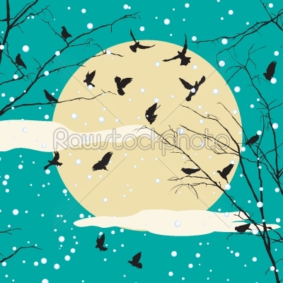 stock vector: birds and tree silhouettes-Raw Stock Photo ID: 24130
