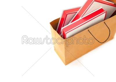 stock photo: blank red boxes in brown bag-Raw Stock Photo ID: 32625