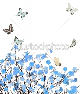 stock vector: blue flowers greeting card-Raw Stock Photo ID: 24149