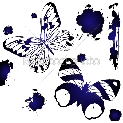stock vector: blue ink butterflies-Raw Stock Photo ID: 24151