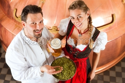 stock photo: brewer and woman with beer glass in brewery-Raw Stock Photo ID: 43235