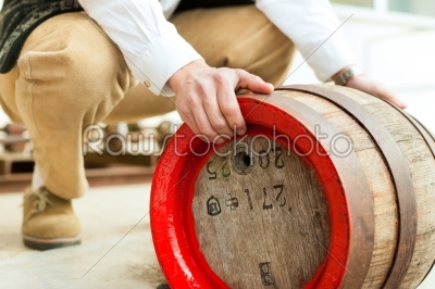 stock photo: brewer with beer barrel in brewery-Raw Stock Photo ID: 43196