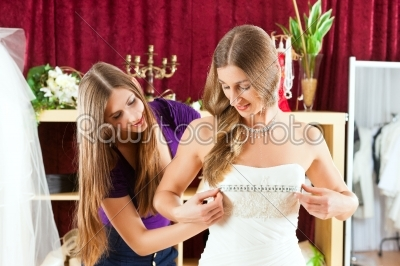 stock photo: bride at the clothes shop for wedding dresses-Raw Stock Photo ID: 41588