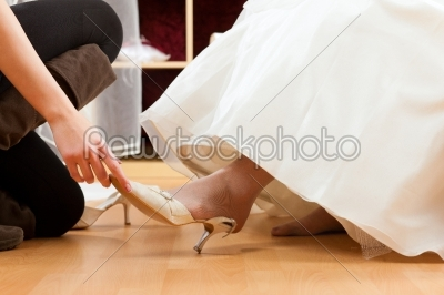 stock photo: bride at the clothes shop for wedding dresses-Raw Stock Photo ID: 41591