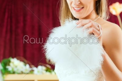 stock photo: bride at the clothes shop for wedding dresses-Raw Stock Photo ID: 41594