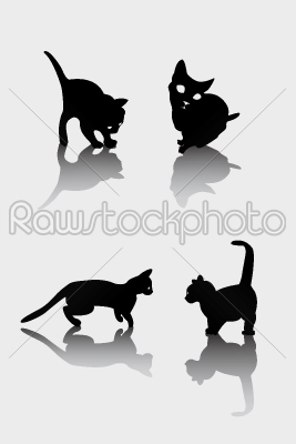 stock vector: cats silhouettes-Raw Stock Photo ID: 24237