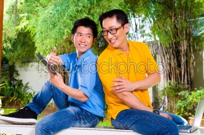 stock photo: chinese father and asian son at home-Raw Stock Photo ID: 48239