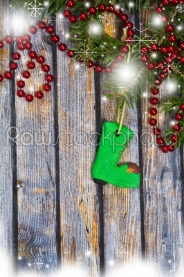 stock photo: christmas fir tree with decoration on a wooden board-Raw Stock Photo ID: 28767