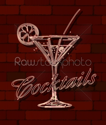 stock vector: cocktails neon sign-Raw Stock Photo ID: 33962