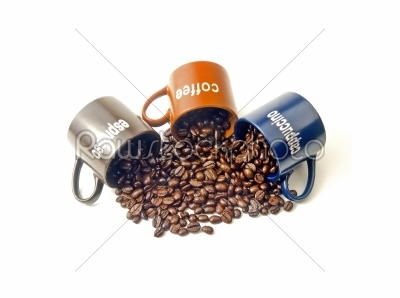 stock photo: coffee cups with coffee beans-Raw Stock Photo ID: 30443