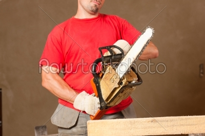stock photo: construction worker with motor saw-Raw Stock Photo ID: 39999