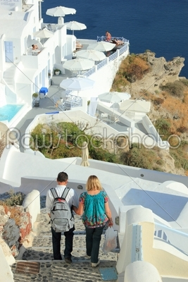 stock photo: couple visiting the island of santorini-Raw Stock Photo ID: 13196