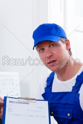 stock photo: craftsman or plumber giving overpriced invoice -Raw Stock Photo ID: 48108