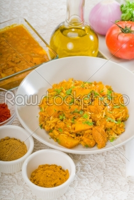 stock photo: curry beef rice and potatoes-Raw Stock Photo ID: 37441