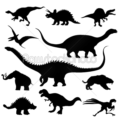 stock vector: dinosaur silhouettes collection-Raw Stock Photo ID: 24362