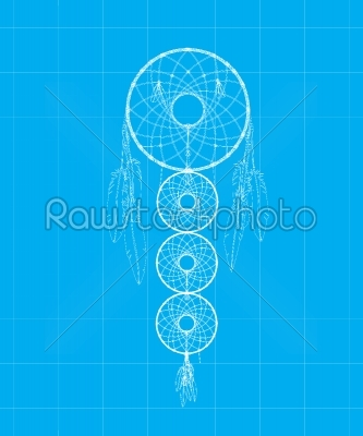 stock vector: dreamcatcher blue print-Raw Stock Photo ID: 24370