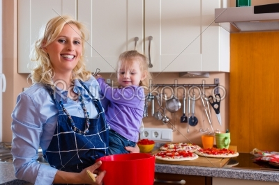 stock photo: family  mother and child baking pizza-Raw Stock Photo ID: 44747