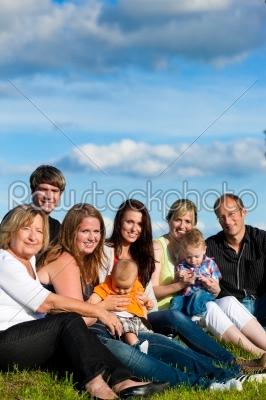 stock photo: family and multigeneration  fun on meadow in summer-Raw Stock Photo ID: 42819