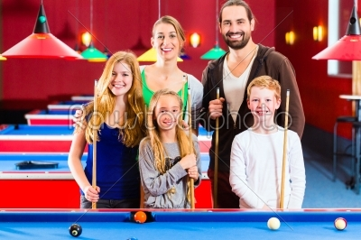 stock photo: family playing pool billiard game -Raw Stock Photo ID: 38449