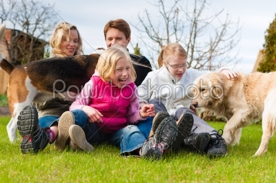 stock photo: family sitting with dogs together on a meadow-Raw Stock Photo ID: 44512