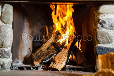 stock photo: fireplace in a hunters cabin or alpine hut-Raw Stock Photo ID: 48292