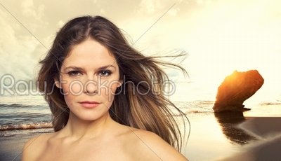 stock photo: fit beautiful woman in tropical beach-Raw Stock Photo ID: 12718