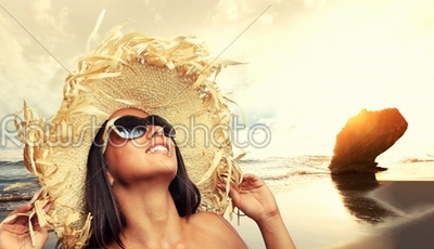 stock photo: fit beautiful woman in tropical beach-Raw Stock Photo ID: 12729