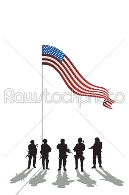 stock vector: five soldiers silhouette-Raw Stock Photo ID: 24429