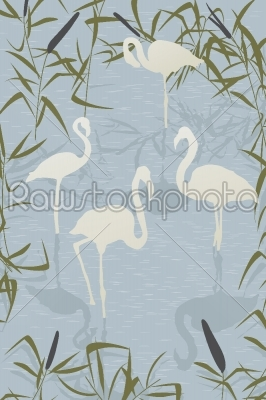 stock vector: flamingo scene-Raw Stock Photo ID: 24436