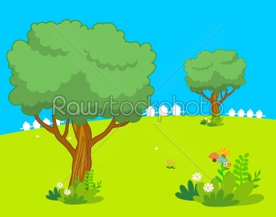 stock vector: forest rainbow and clouds background landscape-Raw Stock Photo ID: 27657