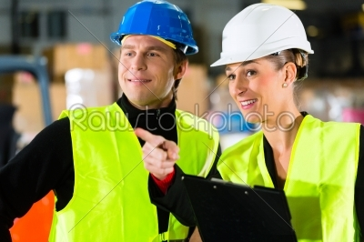 stock photo: forklift driver and supervisor at warehouse-Raw Stock Photo ID: 47119