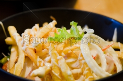 stock photo: french fries salad-Raw Stock Photo ID: 20534