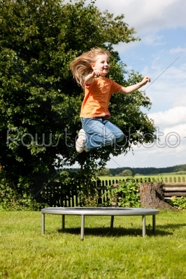stock photo: girl child on trampoline in the garden-Raw Stock Photo ID: 39070