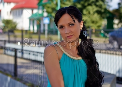stock photo: girl in evening dress in the park-Raw Stock Photo ID: 30217