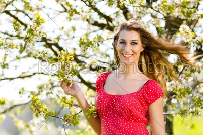 stock photo: girl in spring and tree blossom-Raw Stock Photo ID: 45015