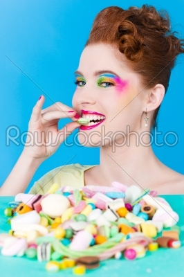 stock photo: girl with sweet goodies and candy-Raw Stock Photo ID: 47776
