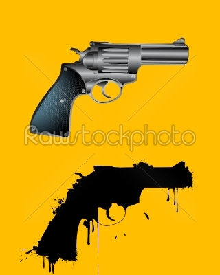 stock vector: grunge revolver-Raw Stock Photo ID: 24526