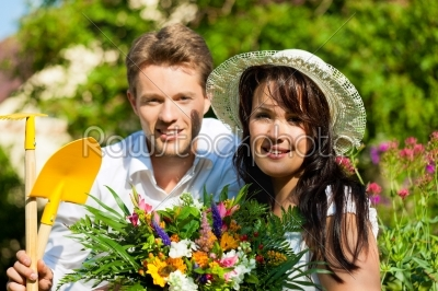 stock photo: happy couple gardening in summer-Raw Stock Photo ID: 42303