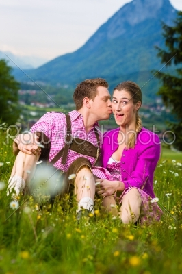 stock photo: happy couple in alpine meadow-Raw Stock Photo ID: 45369