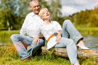 stock photo: happy senior couple outdoors in spring-Raw Stock Photo ID: 39048